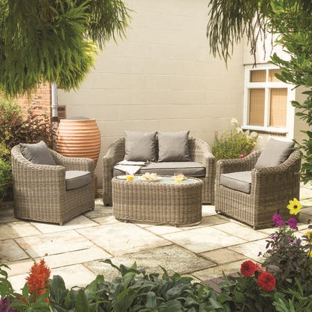 Rowlinson Light Rattan Garden Furniture Set with Grey Cushions – Bunbury