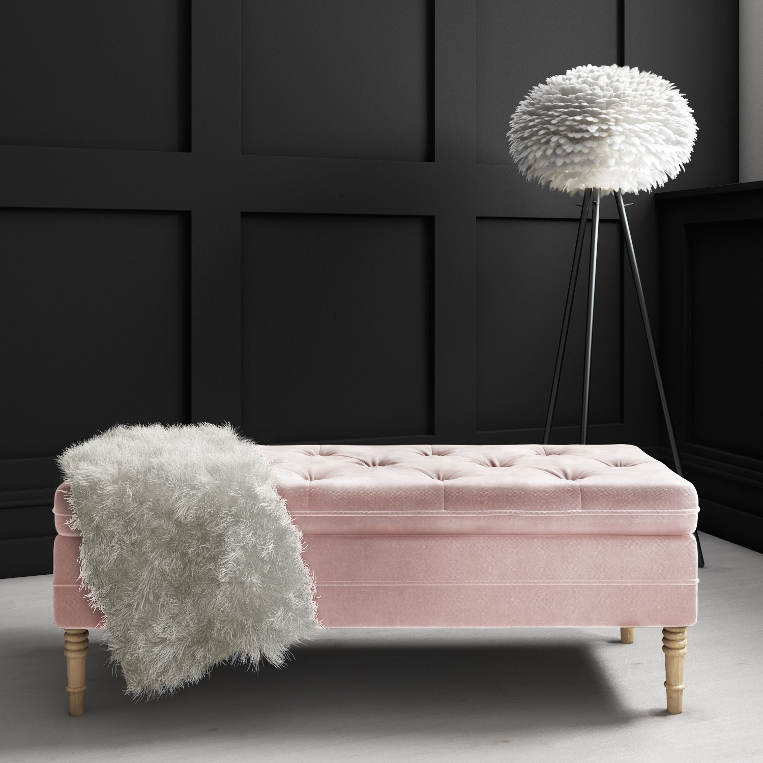 Safina Storage Bench in Baby Pink Velvet with Button Detail