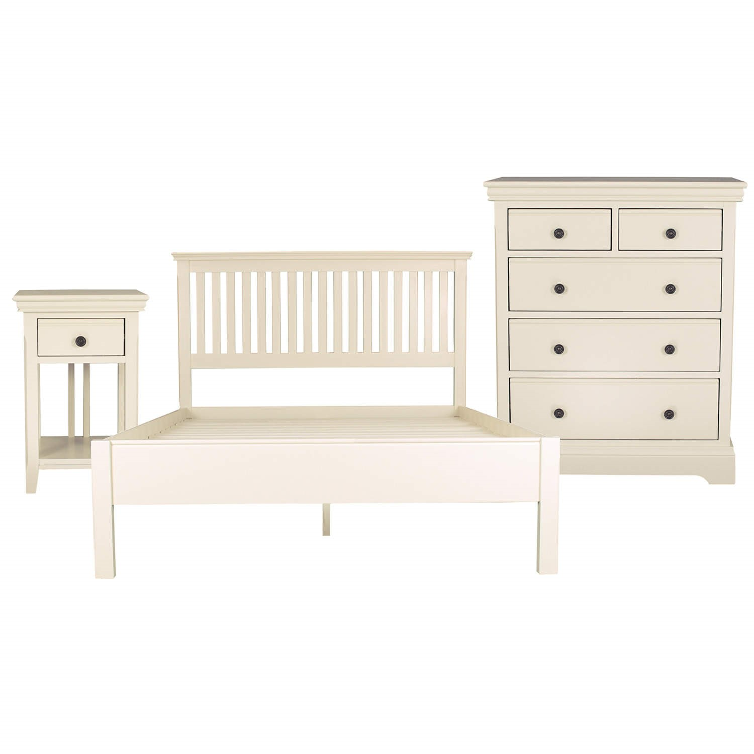 Savannah Double Bed 3 Piece Bedroom Set In Ivory/Cream