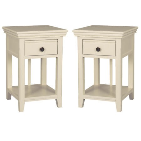 Pair Of Savannah Bedside Tables With Drawer In Ivory Cream
