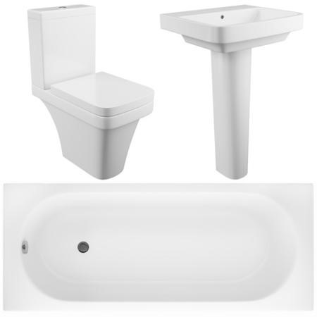 Davana Toilet and Basin Bathroom Suite with Bath