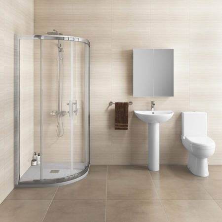 800 x 800mm Shower Enclosure Suite with Curved Toilet & Basin