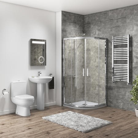 900 x 900mm Shower Enclosure Bathroom Suite with Curved Toilet & Basin