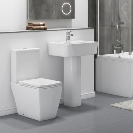Modern Square Toilet and Basin Bathroom Suite with Comfort Height Toilet