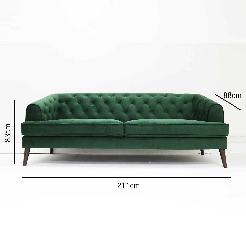 Groovy Green Velvet Sofa 3 Seater Inez Machost Co Dining Chair Design Ideas Machostcouk