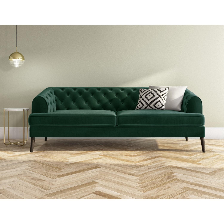 Green Velvet Sofa 3 Seater - Inez