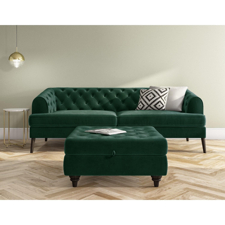 Green Velvet Sofa 3 Seater Inez Furniture123