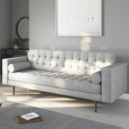Elba Light Grey Fabric Sofa - Seats 3 with Button Detailing & Bolster Cushions