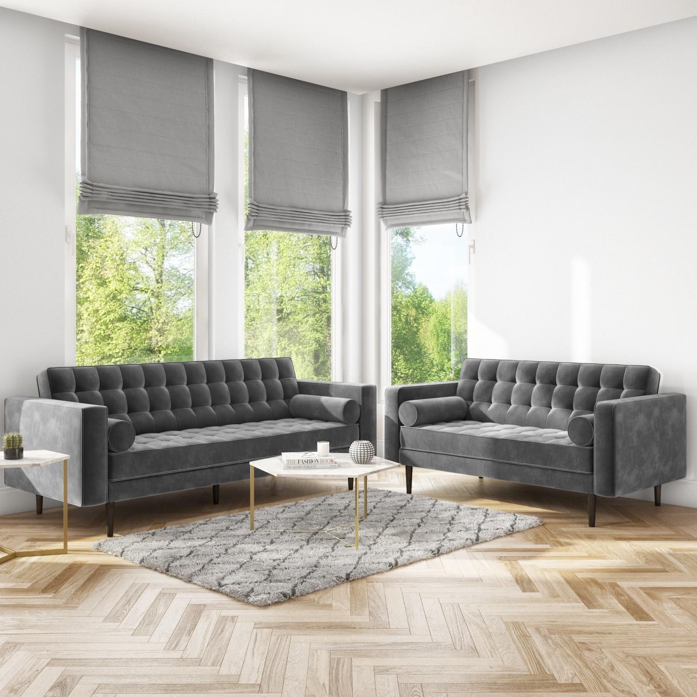 Sofa Set With 3 2 Seater In Grey Velvet Elba Furniture123