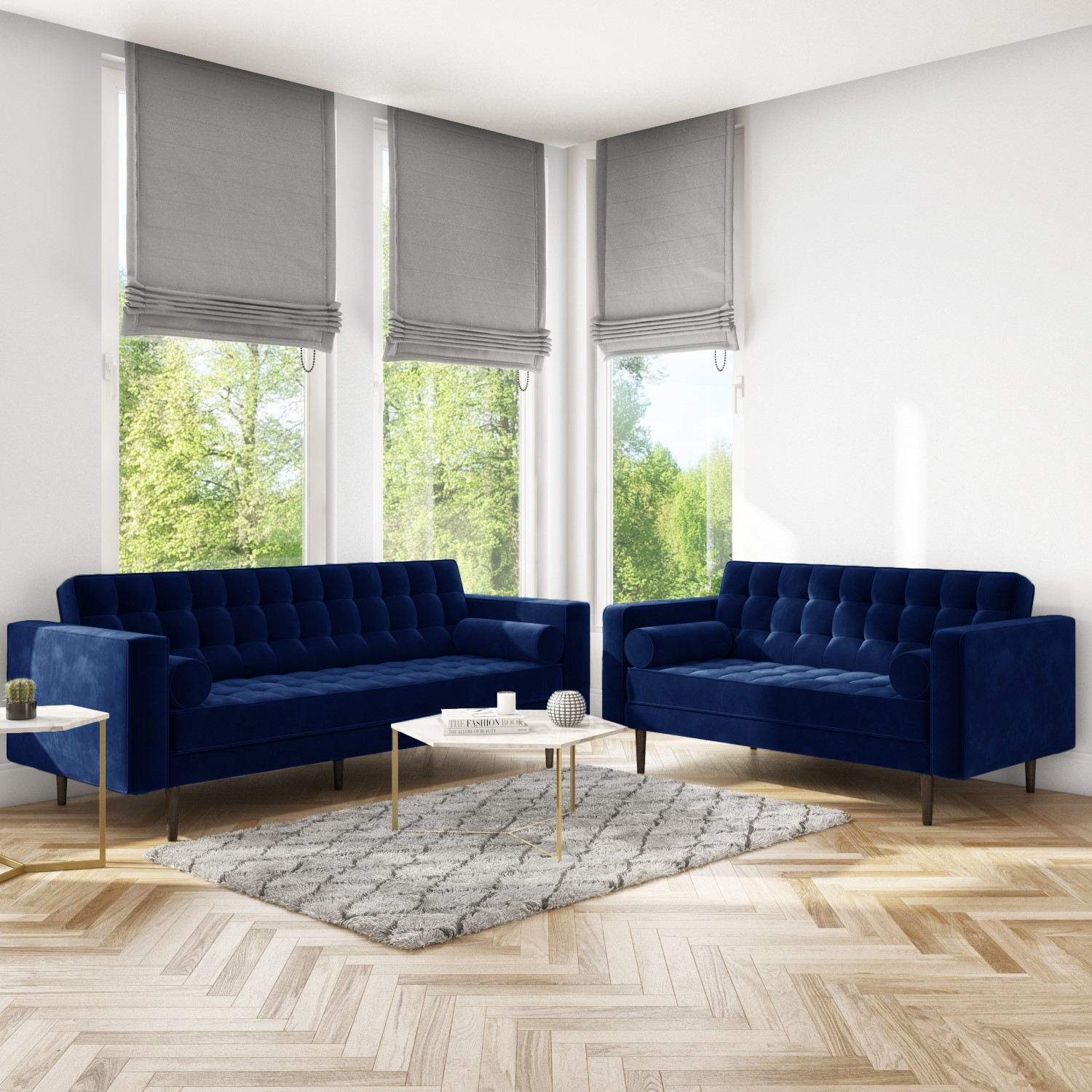 Picture of: Sofa Set With 3 2 Seater In Blue Velvet Elba Furniture123