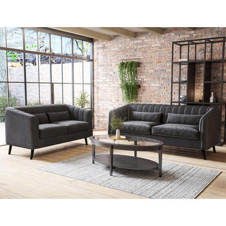 Lotti Grey Velvet 3 Seater Sofa & 2 Seater Sofa Set