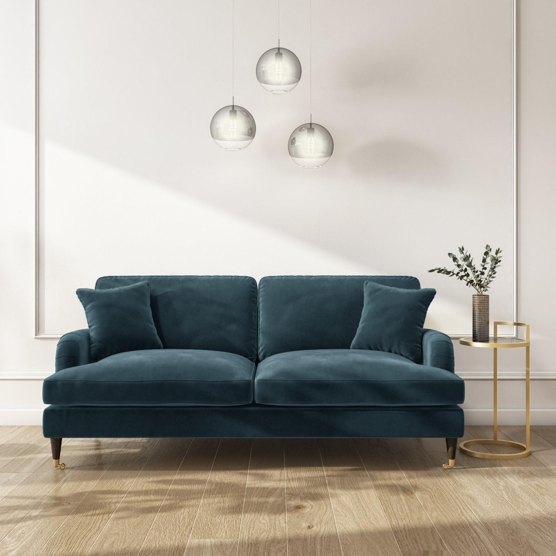 Picture of: Sofa Set In Petrol Blue Velvet 3 2 Seater Payton Furniture123