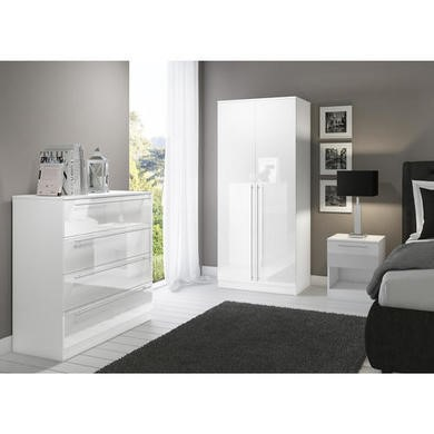 Space White High Gloss Chest of Drawers with 4 Drawers