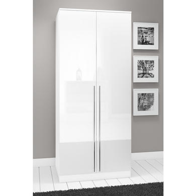 space white high gloss 2 door wardrobe - White Wardrobe