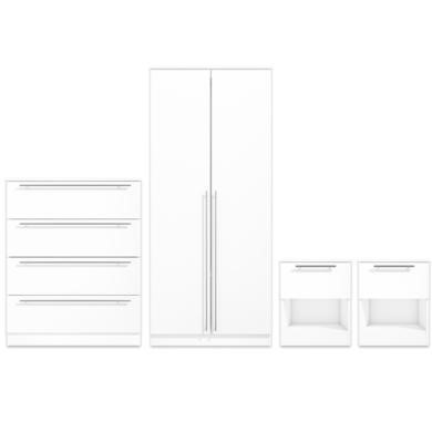 Space White High Gloss Wardrobe 2 Bedside Tables Chest