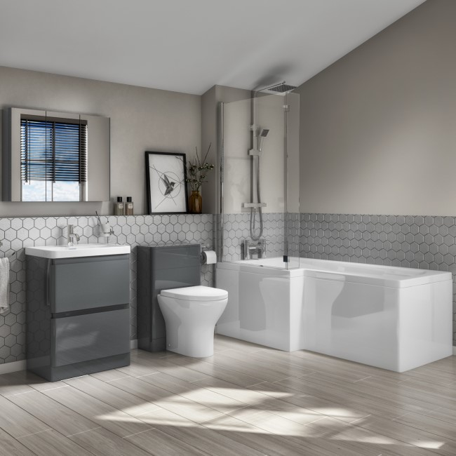 1700mm L-Shaped Right Hand Bath Suite with Basin Vanity & Back to Wall Toilet - Portland