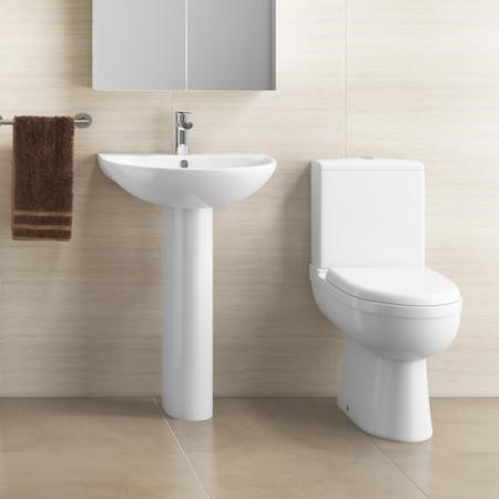 Modern Curved Toilet and Basin Bathroom Suite