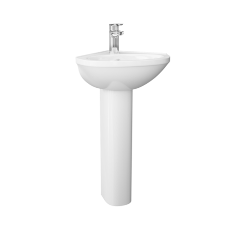 Corner Sink with Full Pedestal - 1 Tap Hole