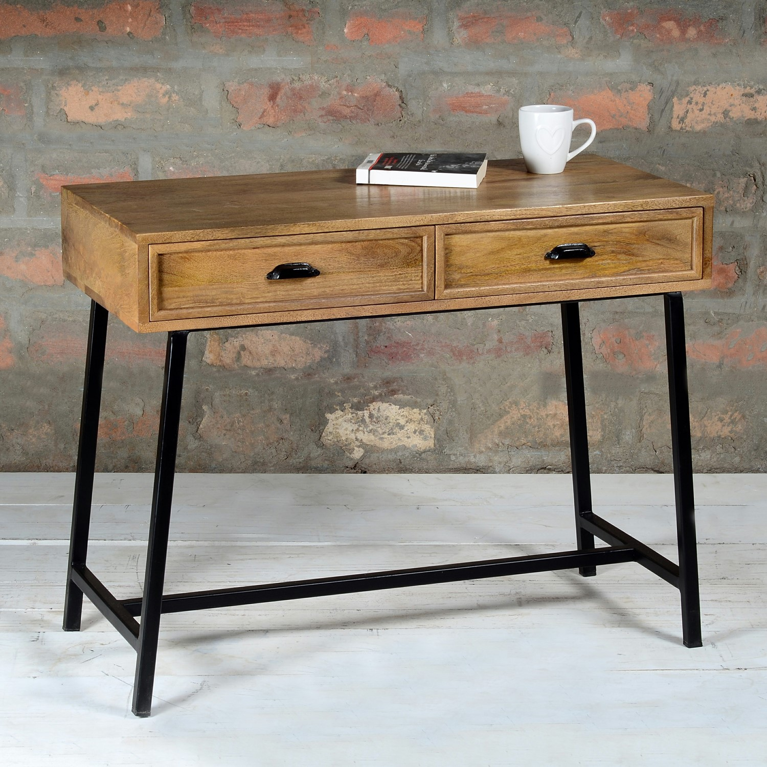 Rustic Console Table with Drawers in Solid Wood & Black - Suri