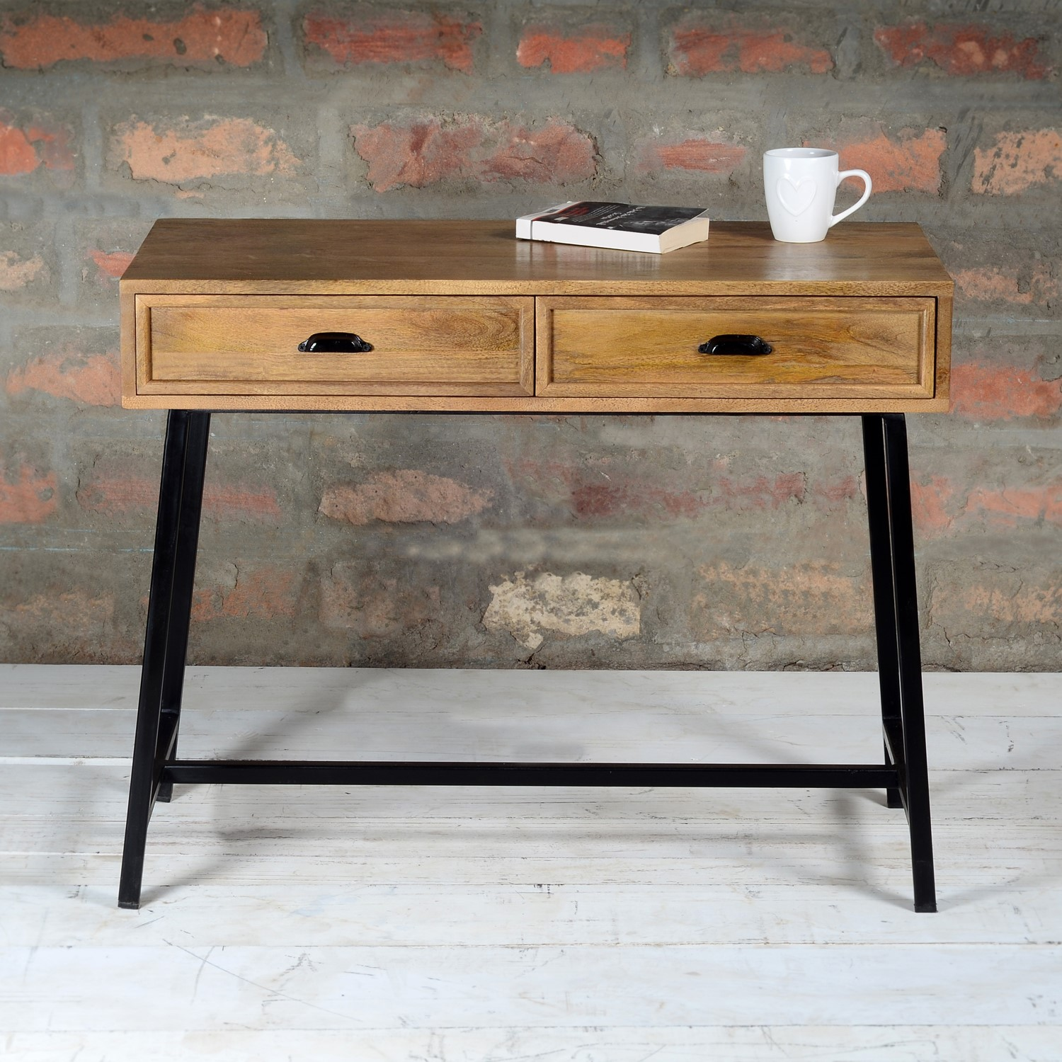 Picture of: Solid Wood Console Table With Industrial Black Metal Legs Suri Furniture123