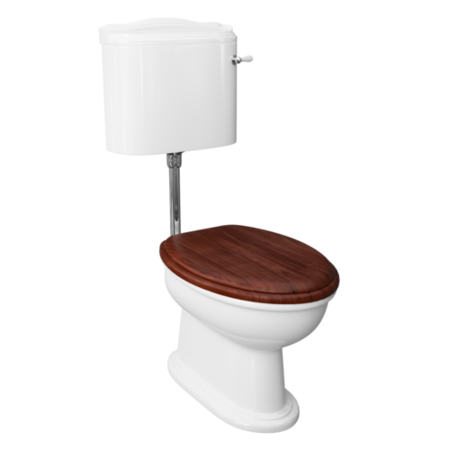 Traditional Low Level Toilet with Mahogany Toilet Seat