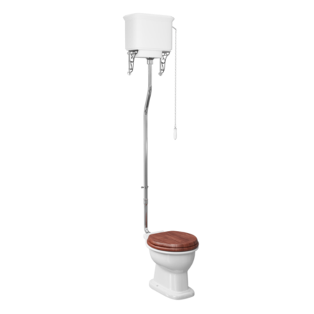 Traditional High Level Toilet with Mahogany Toilet Seat