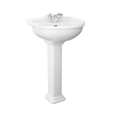 Traditional 1 Tap Hole Full Pedestal Sink - 625mm Wide