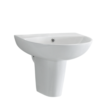 Semi Pedestal Sink 500mm Wide - 1 Tap Hole