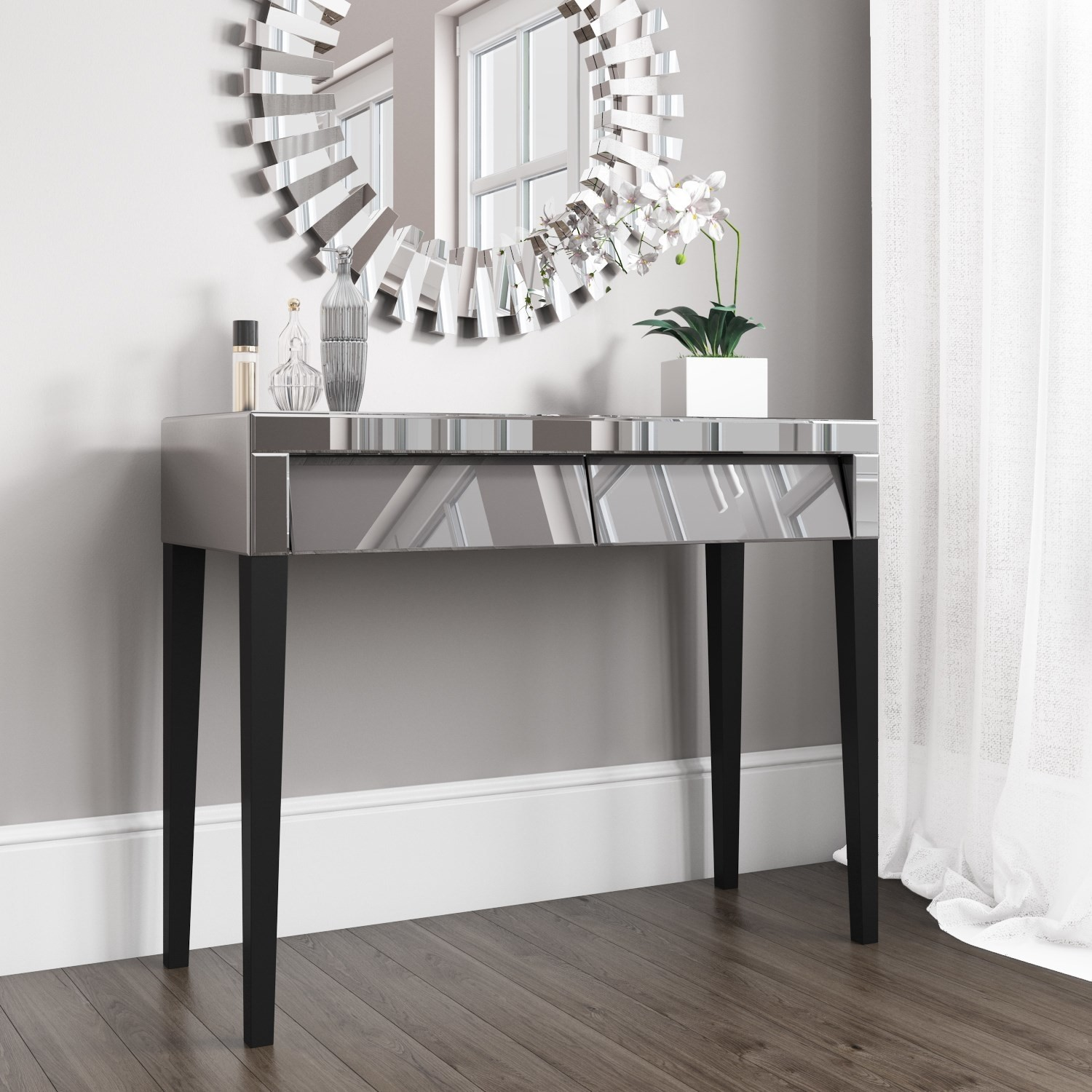Valentina Venetian Grey Mirrored Console Table Furniture123