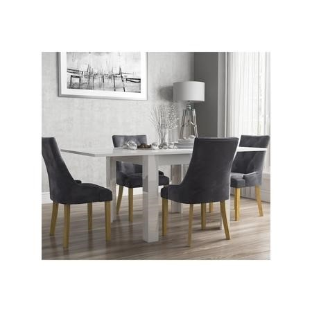 Flip Top Dining Table in White High Gloss with 4 Grey Velvet Chairs - Vivienne & Kaylee