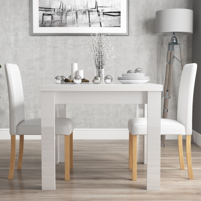 Vivienne Flip Top White High Gloss Dining Table + 2 Faux ...