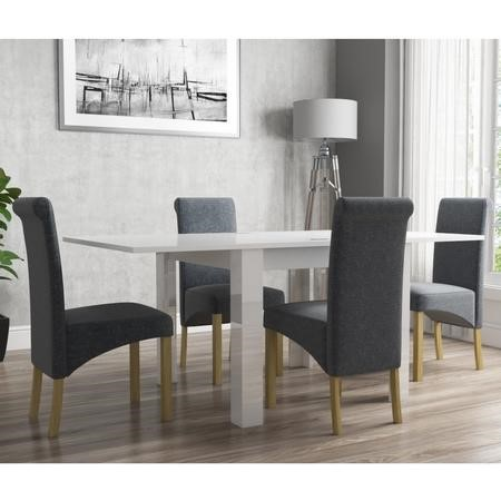 Flip Top Dining Table in White High Gloss with 4 Rollback Grey Chairs - Vivienne & New Haven