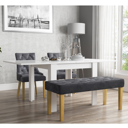 Flip Top Dining Table in White High Gloss with 2 Grey Velvet Chairs & 1 Bench - Vivienne & Kaylee