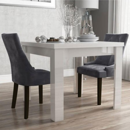 Flip Top Dining Table in White Gloss & 2 Chairs in Grey Velvet - Vivienne
