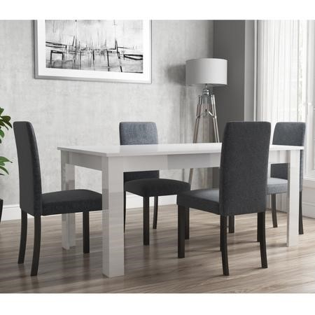 Extendable Dining Table in White High Gloss with 4 Slate Grey & Black Chairs - Vivienne & New Haven