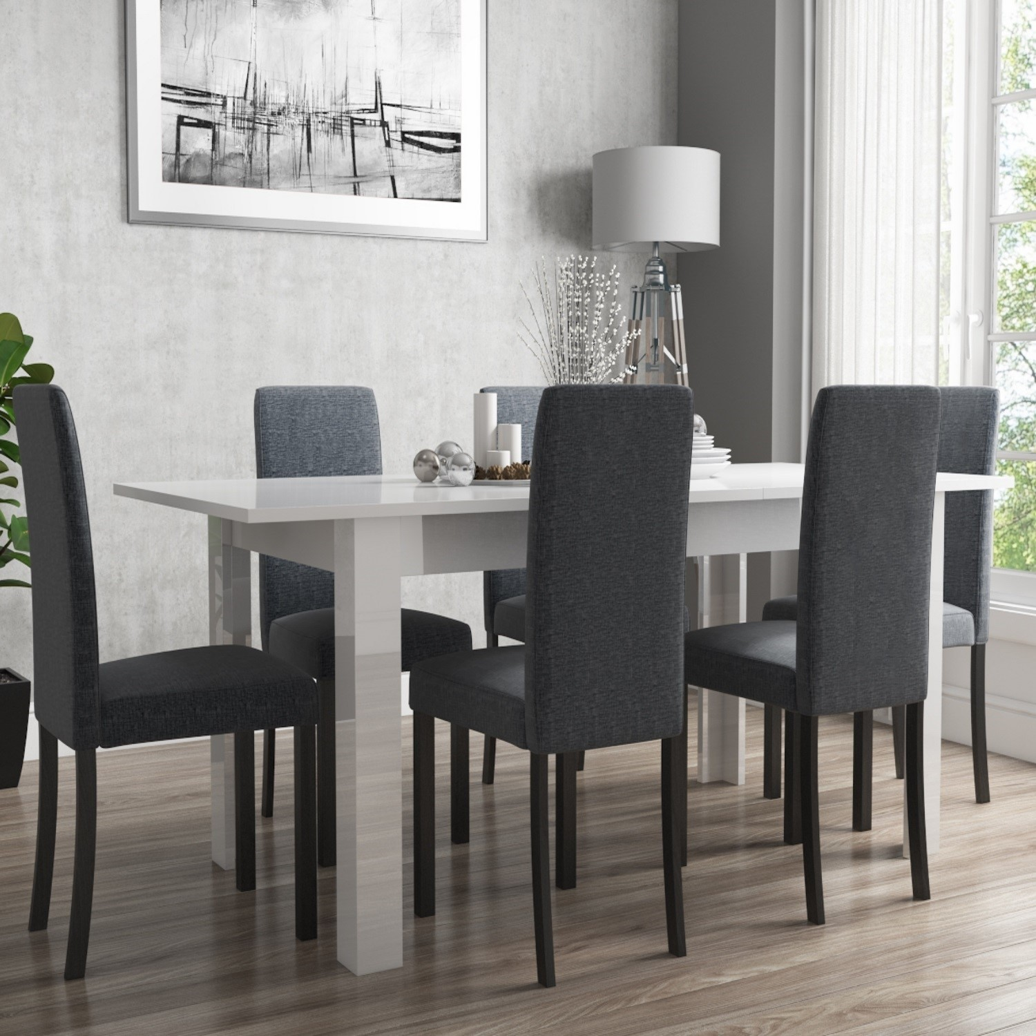 Picture of: Extendable Dining Table In White High Gloss With 6 Grey Chairs Black Legs Vivienne New Haven Furniture123