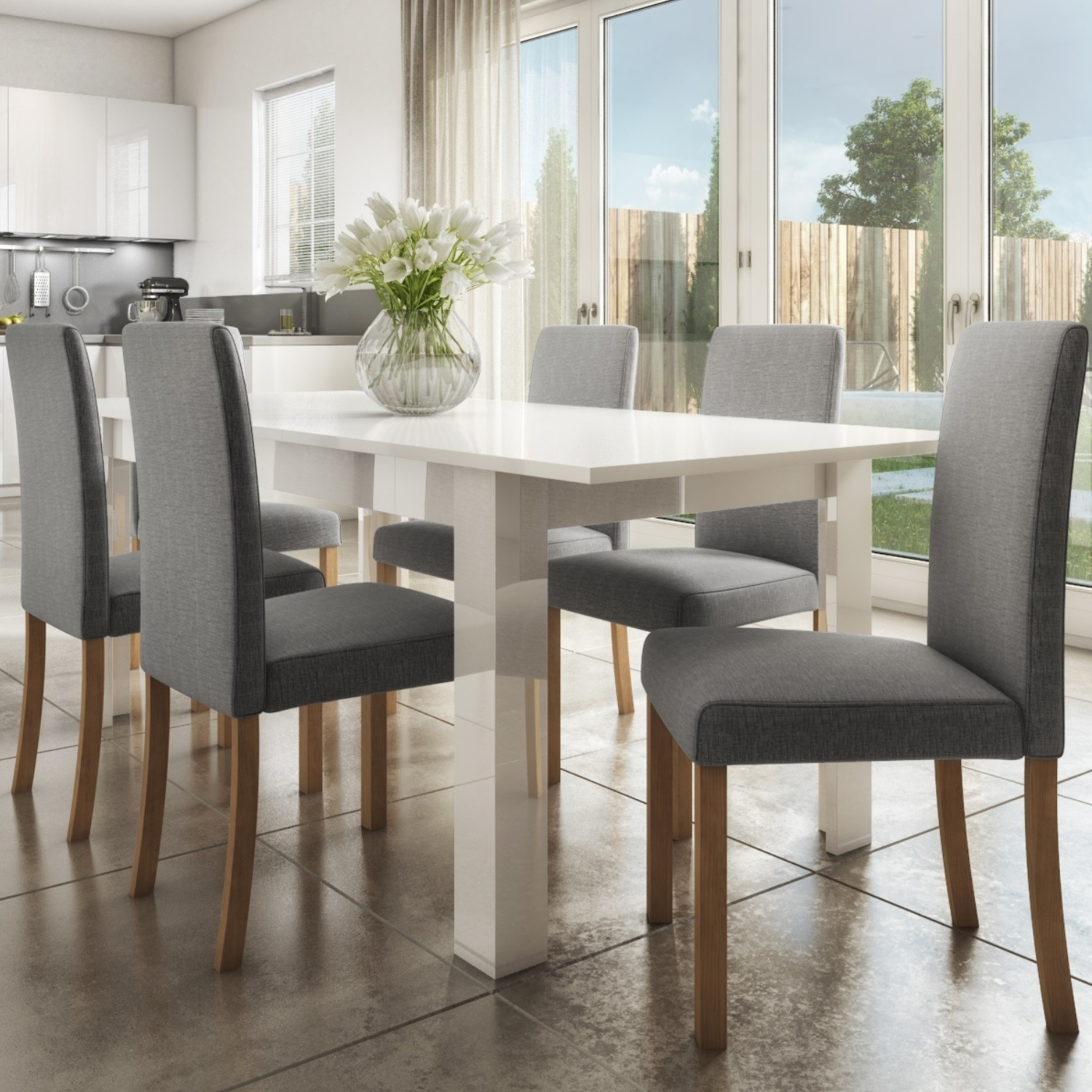 Extendable Dining Table in White High Gloss with 10 Grey Chairs - Vivienne &  New Haven
