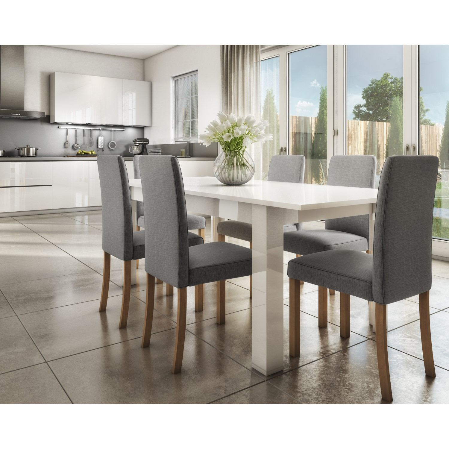 Extendable Dining Table in White High Gloss with 9 Grey Chairs   Vivienne &  New Haven