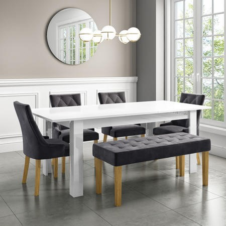 Extendable Dining Table in White High Gloss with 4 Grey Velvet Chairs & 1 Bench - Vivienne & Kaylee
