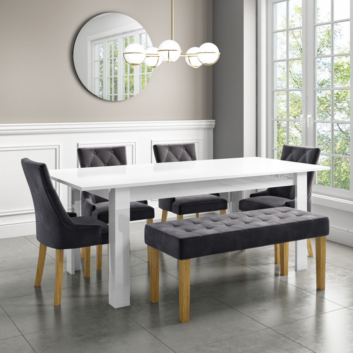 Extendable Dining Table In White High Gloss With 4 Grey Velvet Chairs 1 Bench Vivienne Kaylee Furniture123