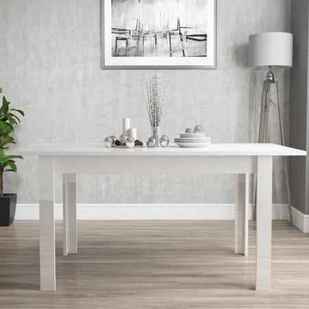 White Extendable Dining Table with High Gloss Finish - 6 Seater - Vivienne