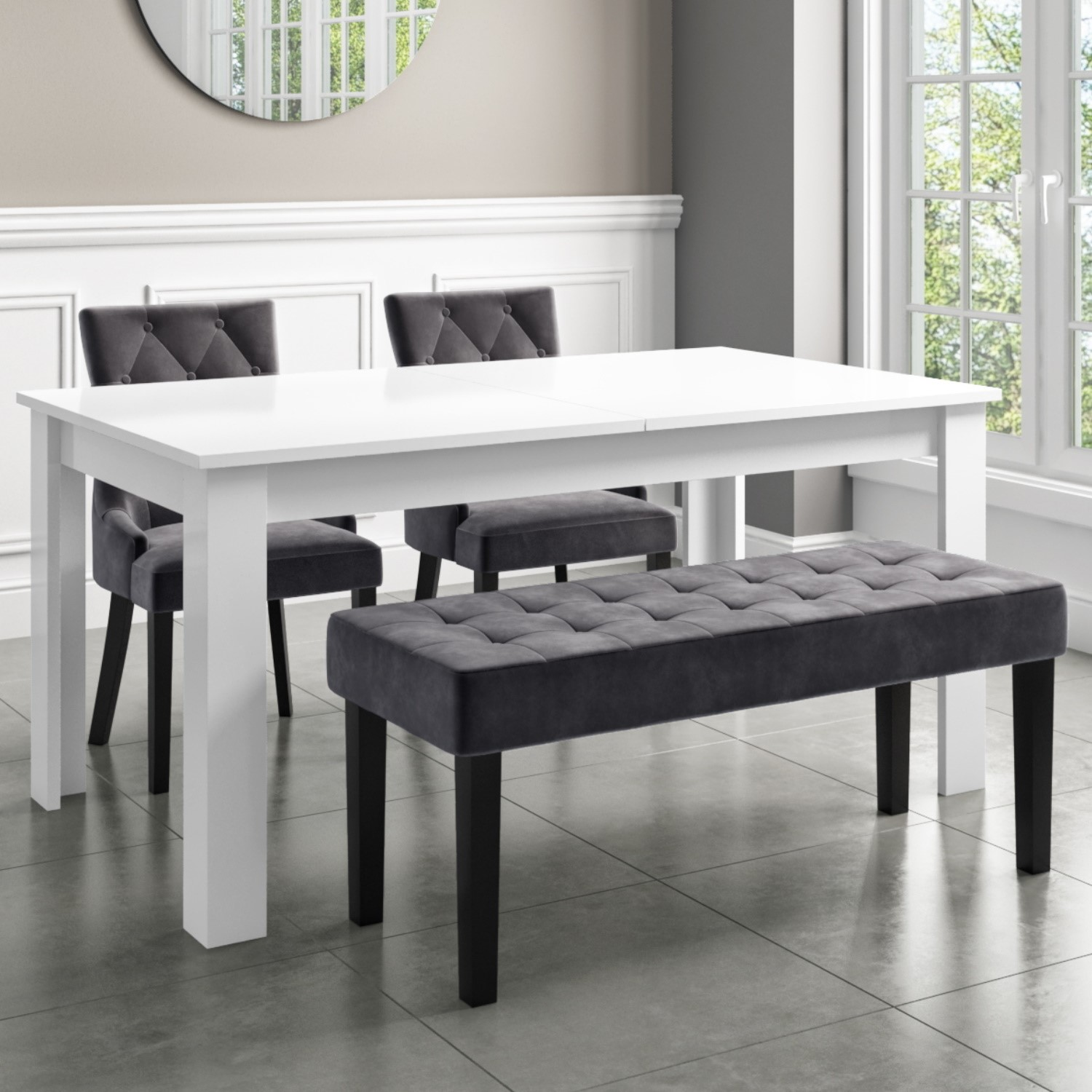 Extendable Dining Table In White High Gloss With 2 Grey Velvet Chairs 1 Bench Vivienne Kaylee Furniture123