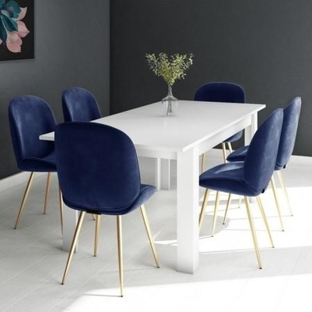 White Extendable Dining Table with 6 Gold & Blue Velvet Chairs - Vivienne & Jenna