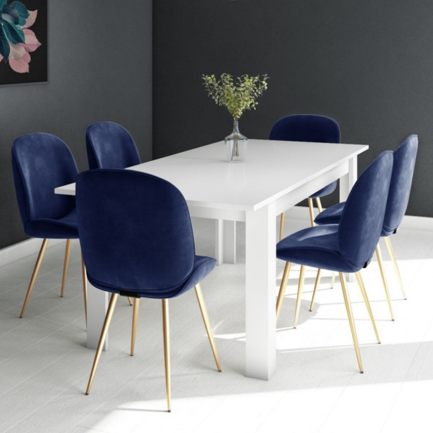 Picture of: White Extendable Dining Table With 6 Gold Blue Velvet Chairs Vivienne Jenna Furniture123