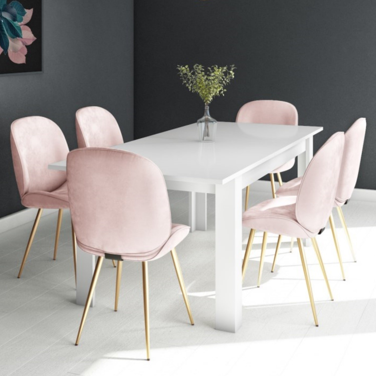 Picture of: White Extendable Dining Table With 6 Gold Pink Velvet Chairs Vivienne Jenna Furniture123