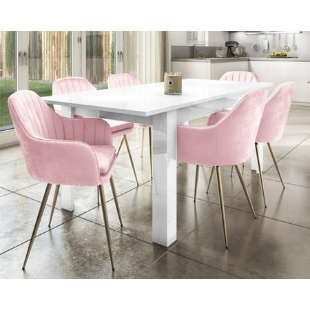 Extendable Dining Table in White High Gloss & 6 Pink Velvet Tub Chairs - Vivienne