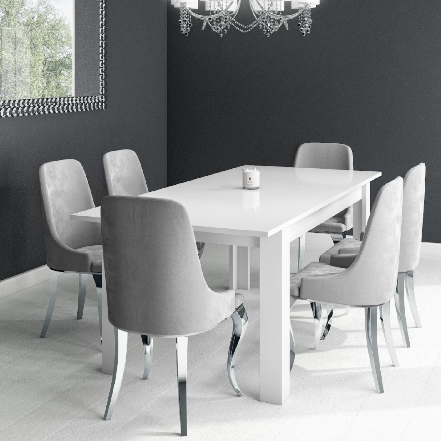 White Extendable Dining Table With 6 Silver Grey Velvet Chairs With Chrome Legs Furniture123