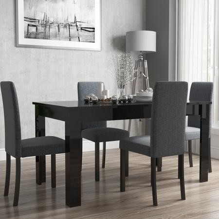 Extendable Dining Table in Black High Gloss with 4 Grey Chairs - Vivienne & New Haven