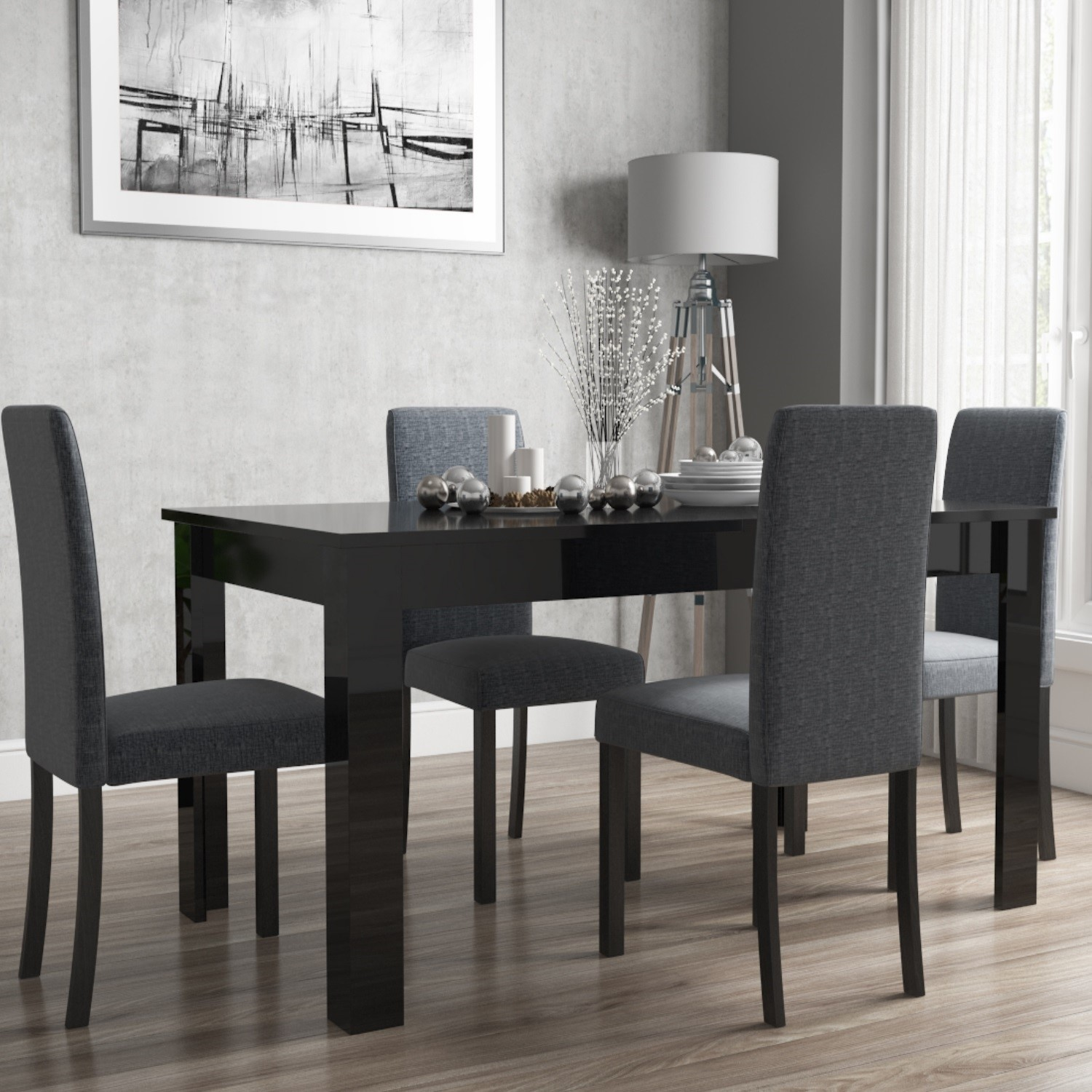 vivienne extendable black high gloss dining table 4 slate grey rh furniture123 co uk