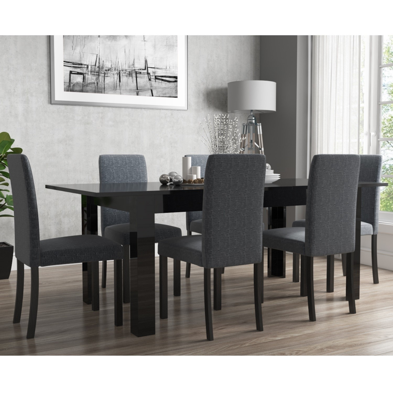Picture of: Extendable Dining Table In Black High Gloss With 6 Grey Chairs Vivienne New Haven Furniture123